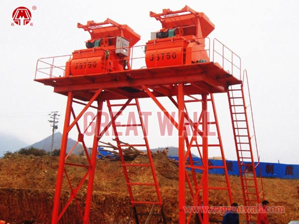 Simple Double JS35 Concrete Batching Plant Built for Jiangxi Highway Project