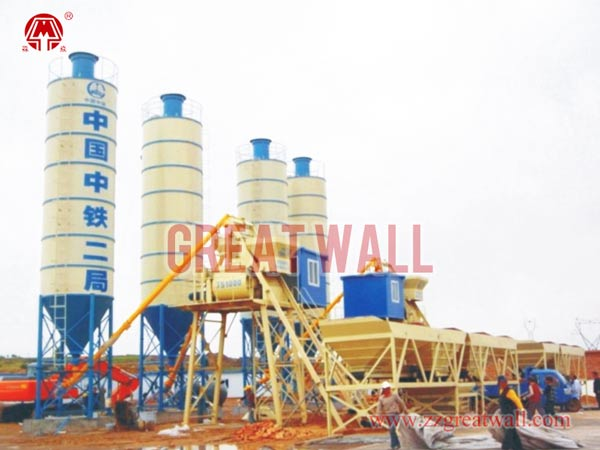 Double HZS50 Concrete Batching Plant Built for Yu-Shen Highway