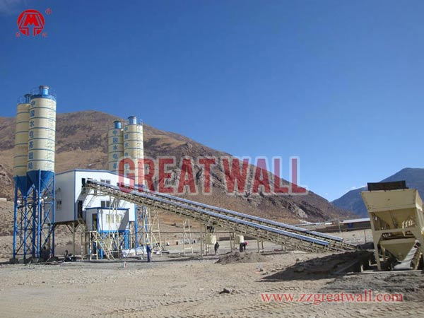 Double HZS90 Concrete Batching Plant Built in Lhasa, China for SINOHYDRO Foundation Engineering Co.,Ltd